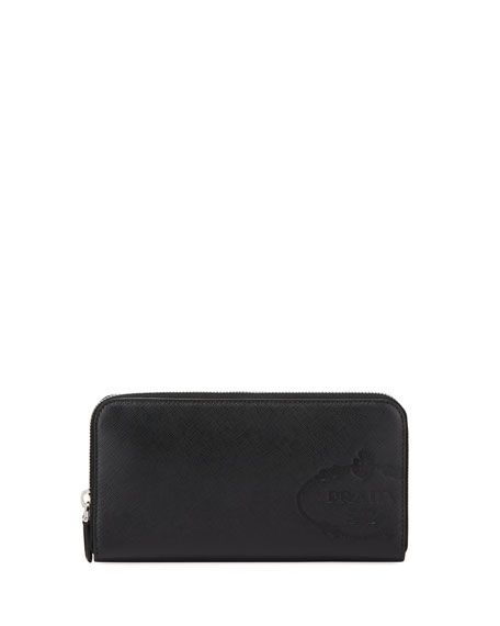 Prada Men's Saffiano Leather Embossed Travel Wallet