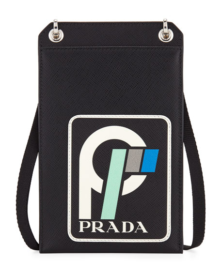 Prada Men's Saffiano Leather Patch Lanyard ID Holder