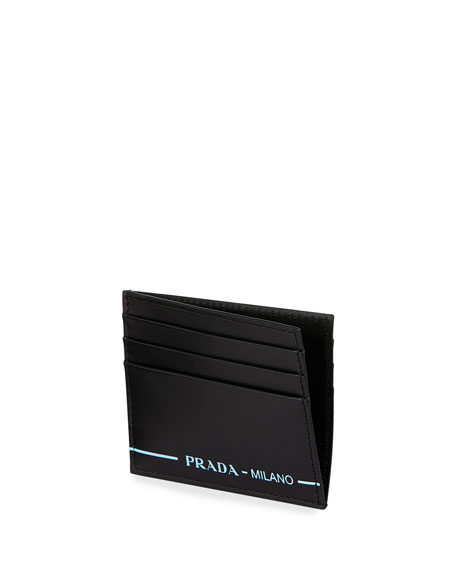 Men's Smooth Calf Leather Card Case with Printed Logo