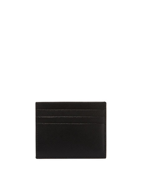 Men's Saffiano Leather Card Case with Runway Logo Patch