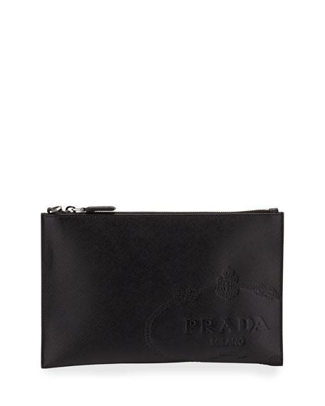 Prada Men's Logo-Embossed Leather Portfolio Case