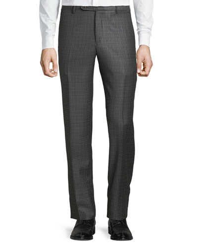 Men's Parker District Check Flat-Front Trousers