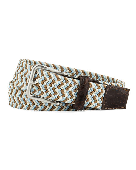 Men's Sport Stretch Belt with Crocodile-Trim, Sky