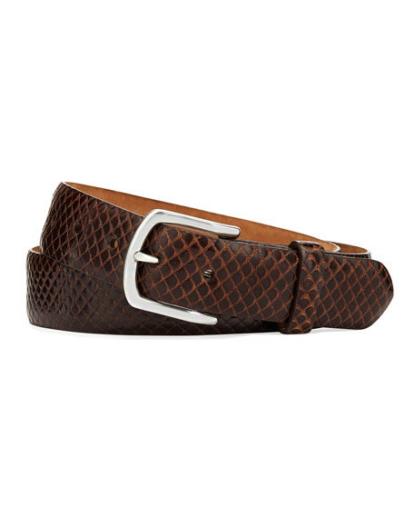 W. KLEINBERG Men'S Anaconda Snakeskin Belt in Chocolate
