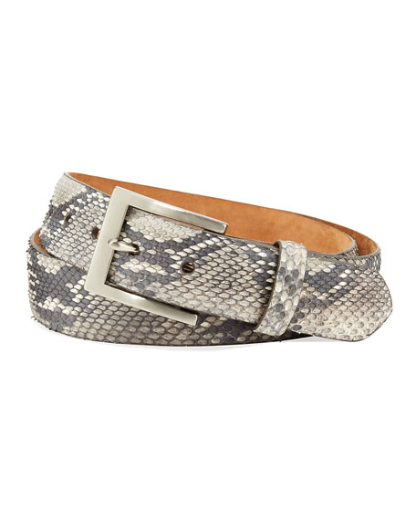 W. KLEINBERG Men'S Matte Python Snakeskin Belt in Light Brown
