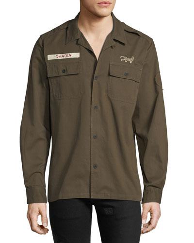 Men's Logo Patch Military Shirt