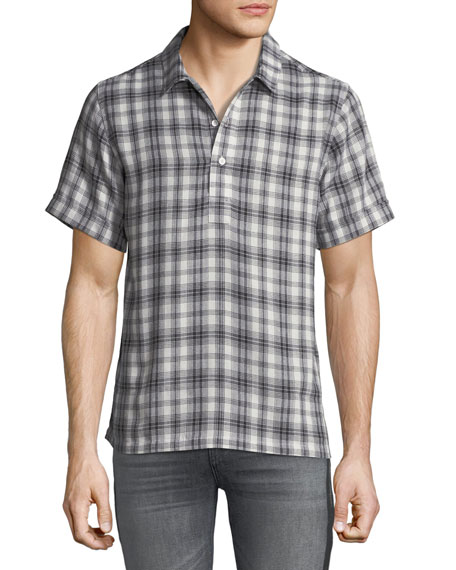 Ovadia & Sons Men's Ashkelon Plaid Polo Shirt