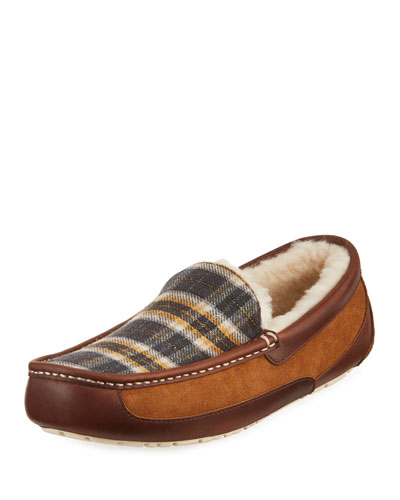 Men's Ascot Plaid Leather/Suede Slippers