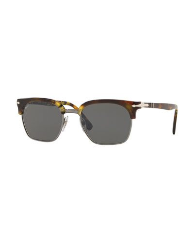 PO3199S Rectangular Sunglasses with Solid Lenses