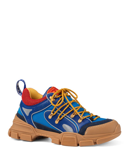 Flashtrek Leather, Suede, Rubber And Mesh-Trimmed Nylon Sneakers, Blue Leather