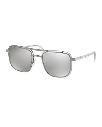 Men's Double-Bridge Square Mirrored Sunglasses