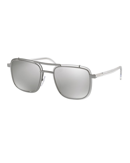 Men's Double-Bridge Square Mirrored Sunglasses