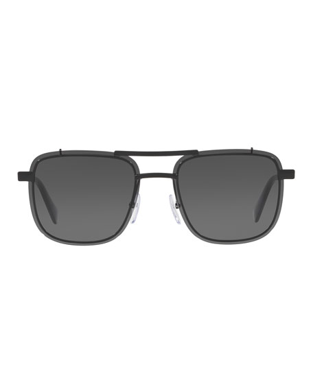 Men's Double-Bridge Square Solid Sunglasses
