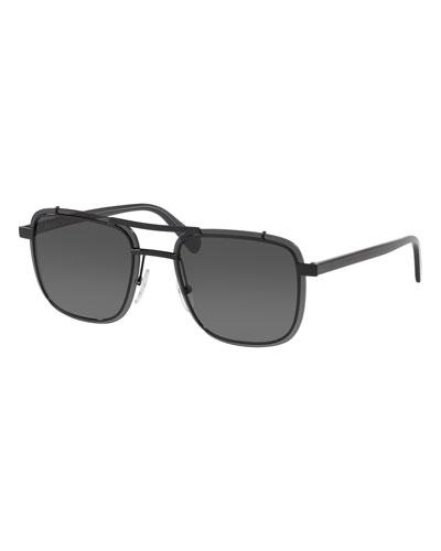 Men's Double-Bridge Square Solid Sunglasses