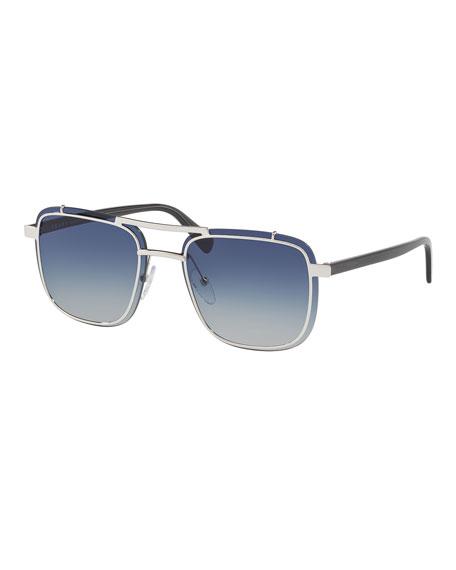 Men's Double-Bridge Square Gradient Sunglasses