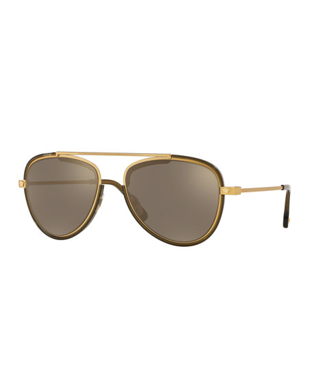 Versace Men's Metal Aviator Sunglasses