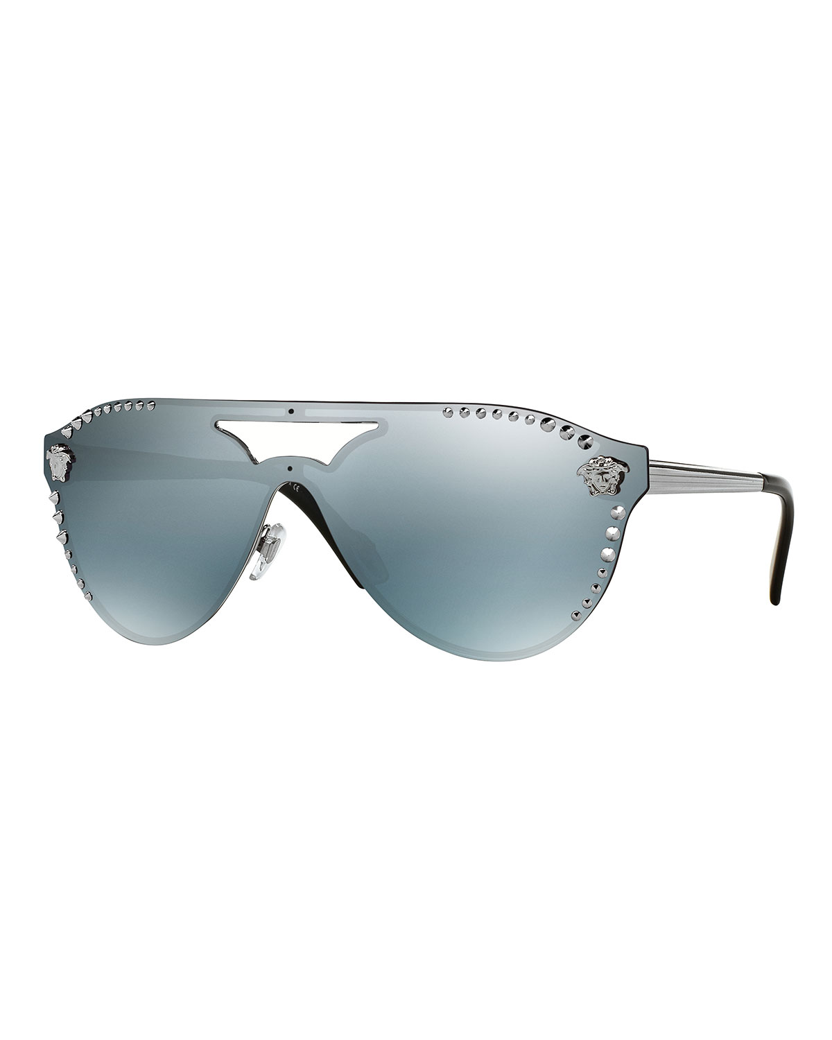 51d3808b81 Versace Men s Mirrored Metal-Studded Shield Sunglasses