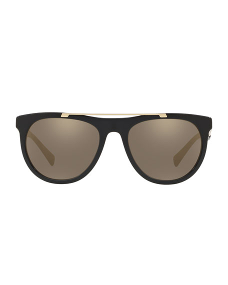 Men's Square Acetate Contrast-Temple Sunglasses