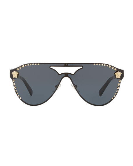 Men's Metal-Studded Shield Sunglasses