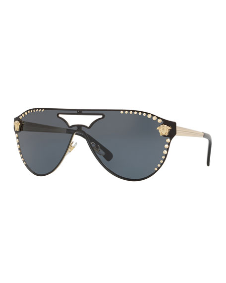 Versace Men's Metal-Studded Shield Sunglasses