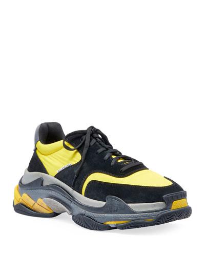 Men's Triple S Mesh & Leather Sneakers, Black/Yellow