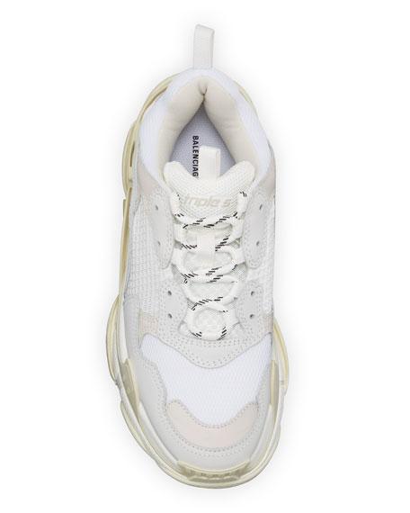Men's Triple S Mesh & Leather Sneakers, White