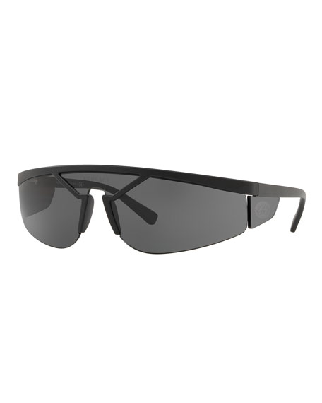 Versace Men's Plastic Shield Wrap Sunglasses