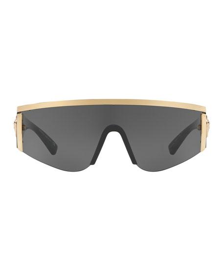 Men's Plastic Shield Sunglasses with Metallic Trim