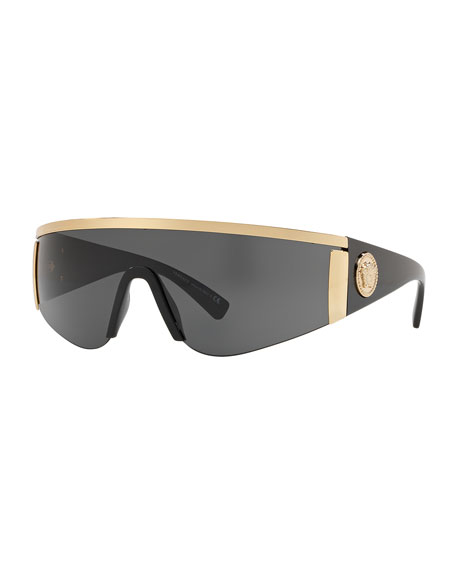 Versace Men's Plastic Shield Sunglasses with Metallic Trim