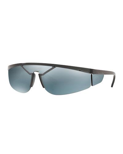 Men's Plastic Shield Wrap Sunglasses with Mirrored Lens