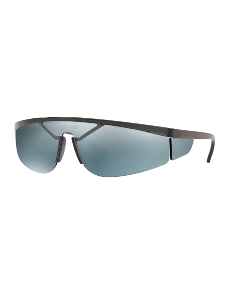 Men's Plastic Shield Wrap Sunglasses with Mirrored Lens