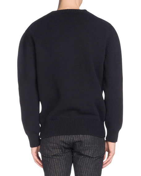 Men's Crewneck Cable-Knit Cotton Sweater