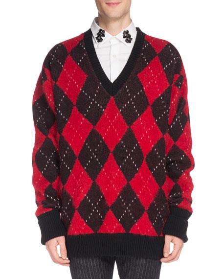 Men's Oversized Wool Argyle Sweater