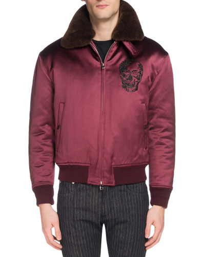 Men's Skull-Embroidered Satin Jacket with Fur Collar