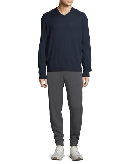 Men's Wool V-Neck Sweater with Elbow Patches