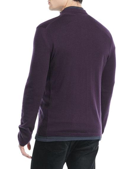 Men's Long-Sleeve Wool/Cashmere Polo Shirt