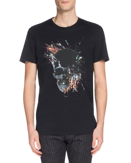 Alexander McQueen Men's Skull Graphic Crewneck T-Shirt