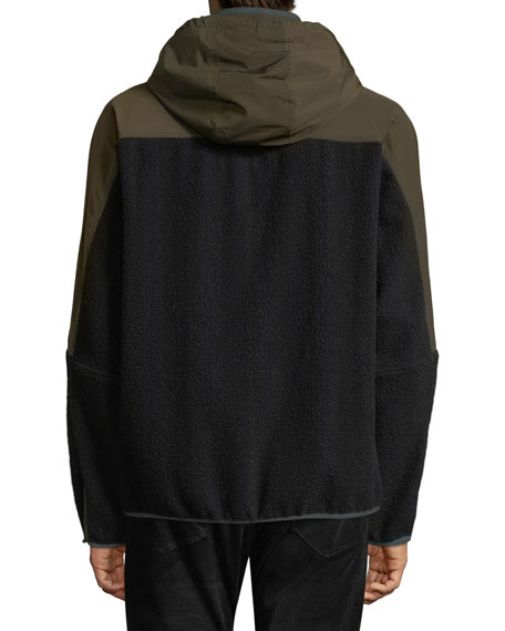 Men's Mixed-Media Hooded Jacket