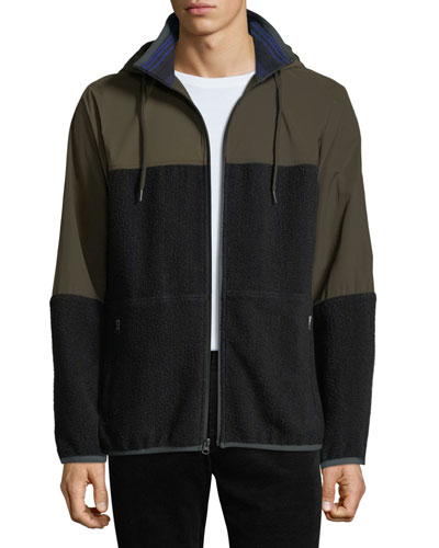 Men's Mixed-Media Hooded Jacket