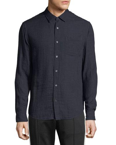 Men's Double-Face Cotton Button-Front Shirt