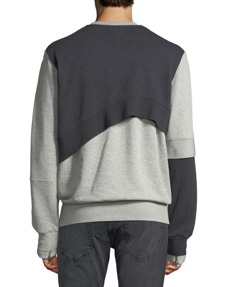 Men's Bicolor Reconstructed Cotton Sweatshirt w/ Signature