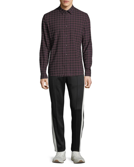 Men's Gingham-Plaid Button-Front Long-Sleeve Casual Shirt