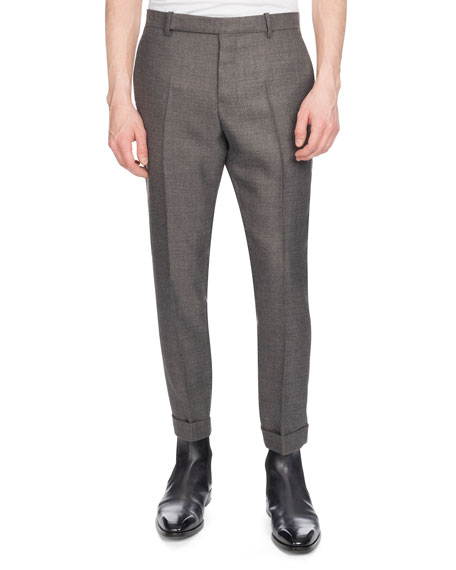 BERLUTI Men'S Heathered Wool Twill Pants in Grey