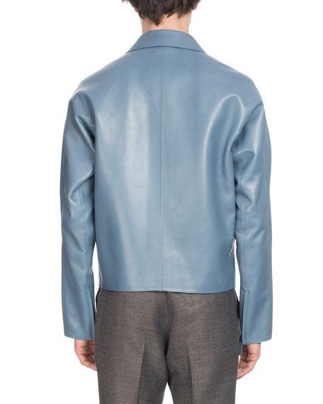Men's Zip-Front Lambskin Leather Jacket