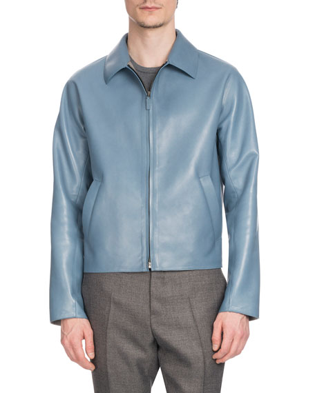 BERLUTI Men'S Zip-Front Lambskin Leather Jacket in Light Blue