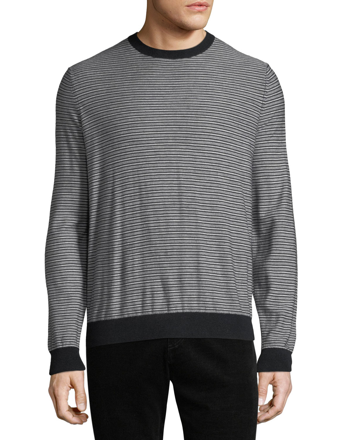 2580457832b6 Vince Men's Striped Wool-Cashmere Sweater | Neiman Marcus