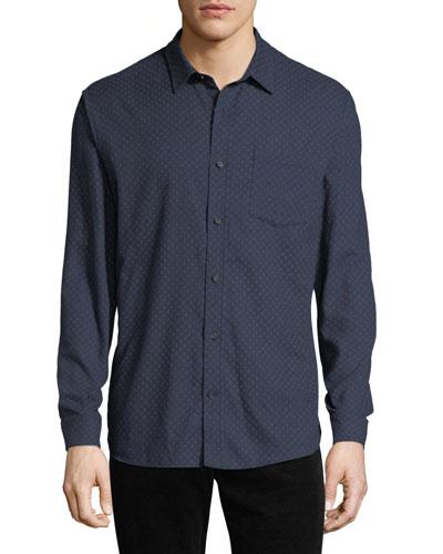 Men's Square-Print Button-Down Shirt