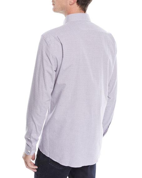Men's Woven Small-Check Button-Down Shirt