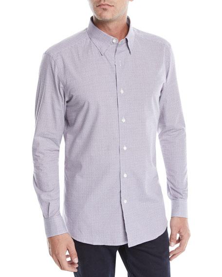 Ermenegildo Zegna Men's Woven Small-Check Button-Down Shirt