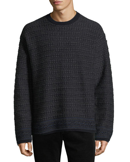 Men's Reverse Fair Isle Crewneck Yak-Wool Sweater